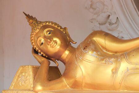 slumber: buddha statue  sleep  ancient  in the Thai temple Stock Photo