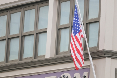 imperialism: American flag on building, the  proudly displaying their