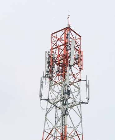 cellular transmitter Telecommunication tower with antennas Multiplicity communications. (microwave tower Cell Phone )
