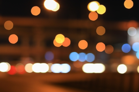 Abstract blurred bokeh in city night  colorful beautiful of traffic in Bangkok Thailand, with copy space Reklamní fotografie