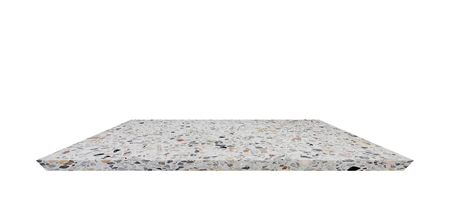 Empty Shelf top of Terrazzo floor table or counter  on white background. For product display