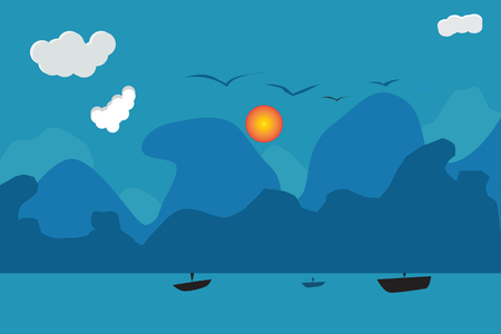 mountains sun  birds and boat in sea  landscape. Vector illustration and EPS10. with copy space for add text