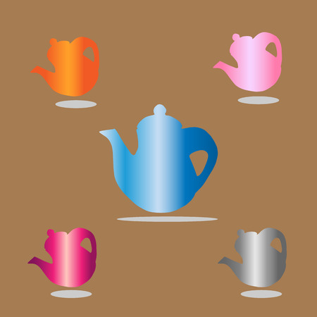 big five: teapot  Icon beautiful isolated on brown background . Vector illustration with eps 10 Illustration