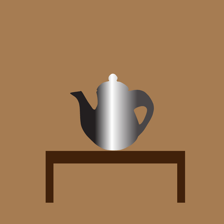 earthenware: teapot  and cup Icon on the table isolated on brown background . Vector illustration with eps 10 Illustration