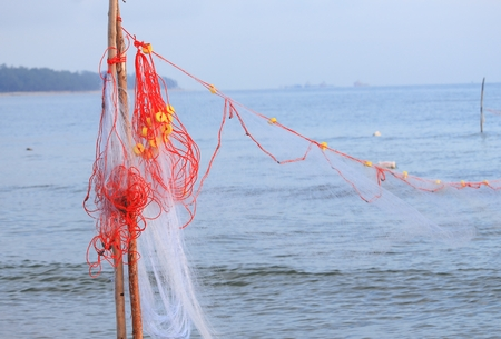Fishing Nets in the sea background with copy space.