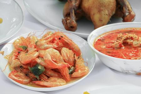 Sweet shrimp in plate