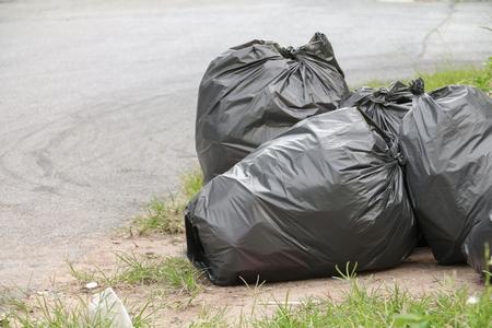 Pile of black garbage bag