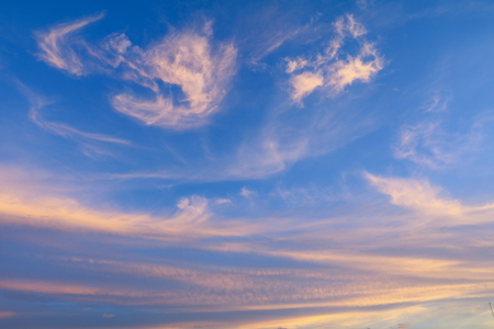 sky in sunset  and motion cloud, beautiful colorful evening nature  space for add text