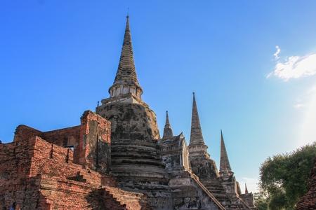 pagoda ancient famous in wat Phra Sri Sanphet  beautiful ,Royal Palace in Ajutthaya travel Thailand