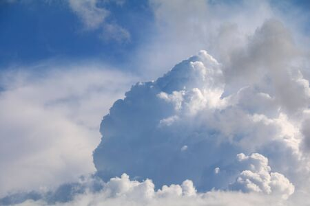 blue sky with big cloud and raincloud, art of nature beautiful, copy space for add text