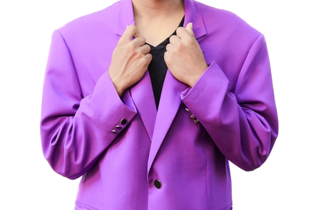 Handsome elegant young fashion man purple with catch collar in suit  on white background