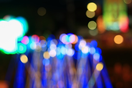 Abstract bokeh light in night festival new year and christmas beautiful background , with copy space add text