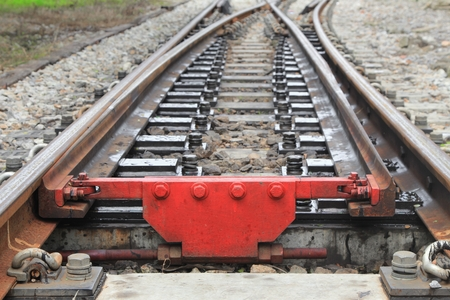 railway track on gravel  for train transportation: Select focus with shallow depth of field : Reklamní fotografie