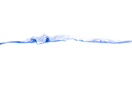 Water splash blue ink and bubbles of air show the motion on white background with copy space