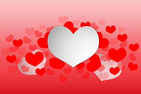 Valentine day heart white concept design art paper style on red background. Vector illustration.