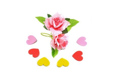 Red with rose pink on white background valentine day concept Stock Photo