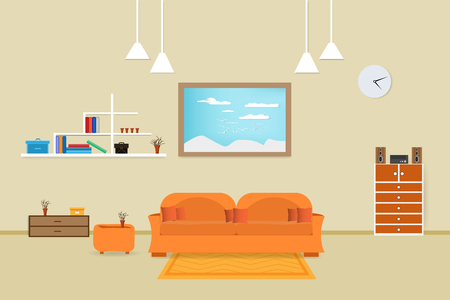 interior living room design relax with sofa orange and bookshelf window in wall background. vector illustration