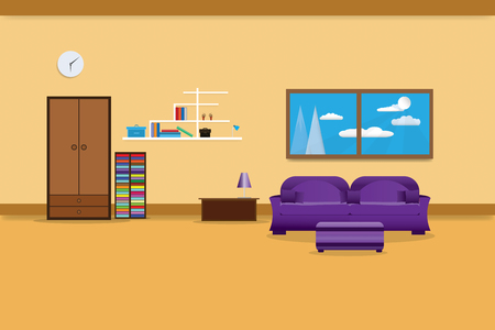 living room interior design relax with sofa purple and bookshelf window in wall yellow background. vector illustration