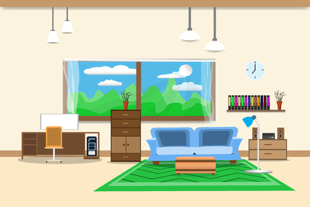 Living room or office design interior Stock Vector - 96491879