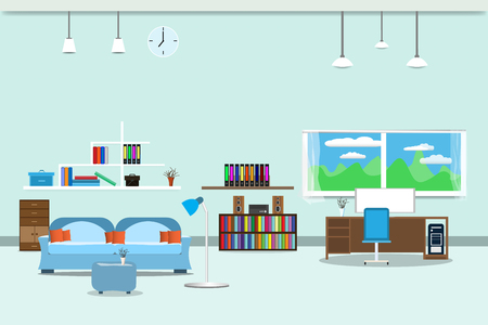 Living room or office design interior Stock Vector - 96491881
