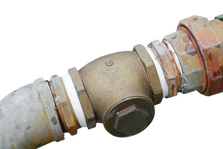 pipe plumbing steel dilapidated old rusty isolated on white background 스톡 콘텐츠