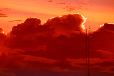 sky red in sunset and  cloud, beautiful colorful evening nature space for add text