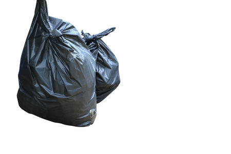 black garbage bag  isolated on white background and clipping path Stock Photo