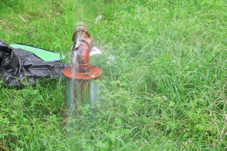 plumbing main tube and water leak,  old tap pipe steel rust  on grass floor