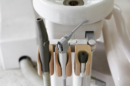 close up of  different dental instruments old and tools in a dentist office