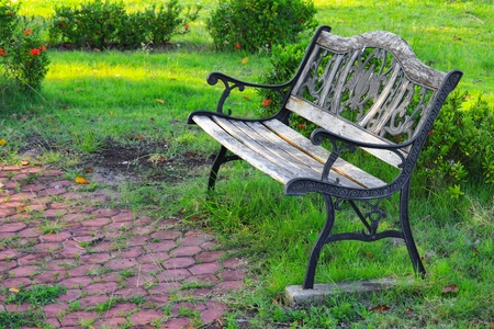 wooden chair old in the park
