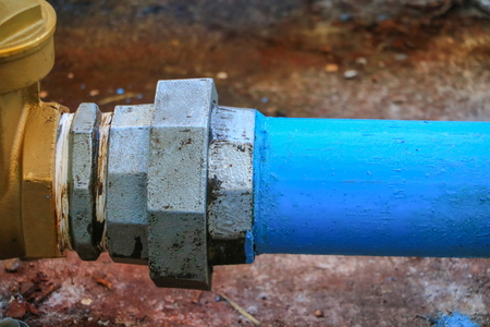 plumbing joint  steel tap pipe close up Stock Photo