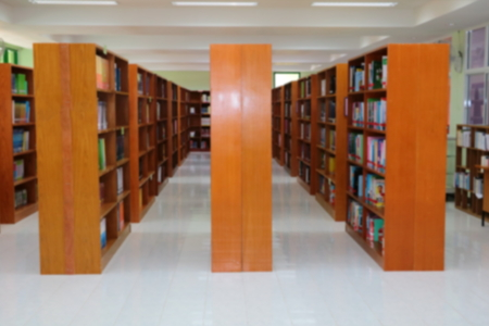 focus blur for library public room and books in shelf Stok Fotoğraf