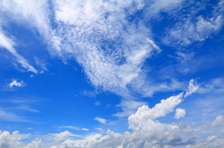 blue sky vivid with the cloud  art of nature beautiful and copy space for add text Stock Photo