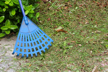 Broom plastic blue in a garden