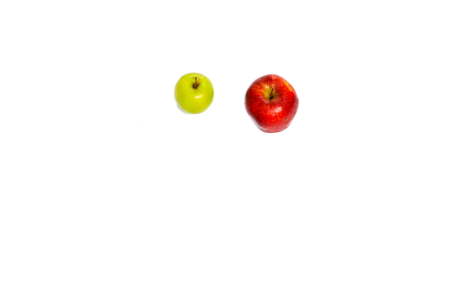 apple red  and green  on white background with copy space add text
