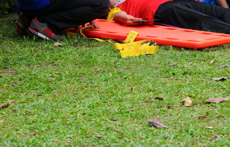 stretcher select focus. rescue emergency medical service,  a help patient in  a rescue situation