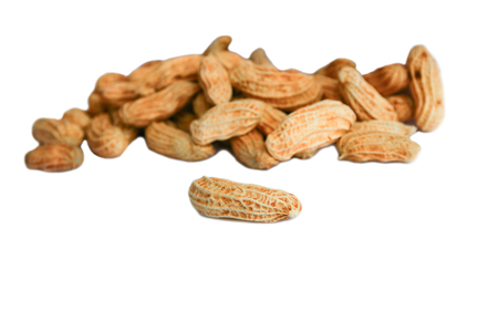 peanut group. nuts close up on white background Stockfoto