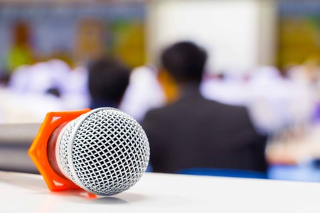microphone Close up in conference room :Select focus with shallow depth of field.