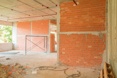 wall made brick construction site interior room in building with copy space add text 版權商用圖片