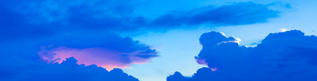 panorama blue sky vivid with cloud in summer Before sunset art of nature beautiful and copy space for add text