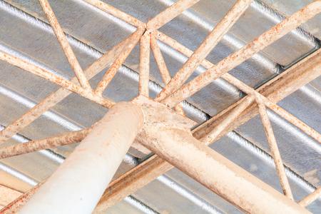 post ceiling Metal Sheet old   structure in building indoor