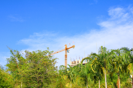 Tower crane in Construction buildings the city on sky background with copy space add text Stockfoto