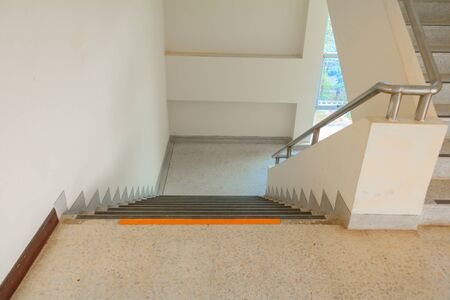 way down stairs terrazzo flooring Select focus with shallow depth of field,marble floor