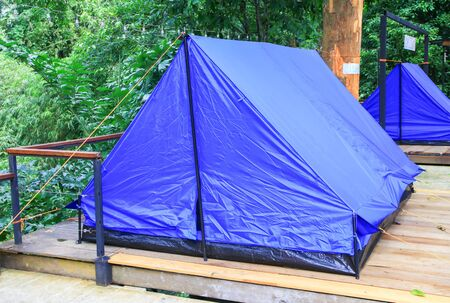 close up tent blue accommodation camping relax in forest