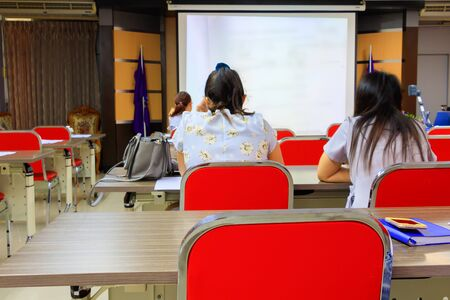 businesswoman in education seminar training conference in interior  meeting room Stok Fotoğraf
