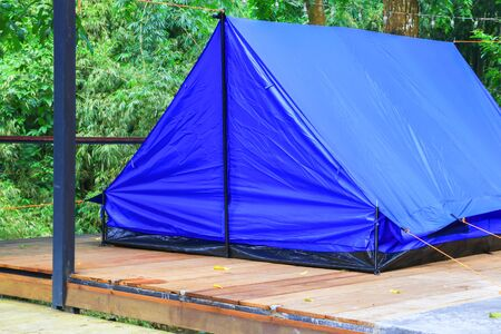 close up tent blue accommodation camping relax in forest Foto de archivo