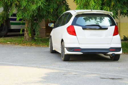 white car close up on road with copy space add text