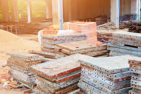 steel sheet pile in construction site with house renovate and copy space add text