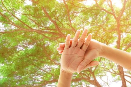 young people joining hands together in nature background. Concept unity and teamwork