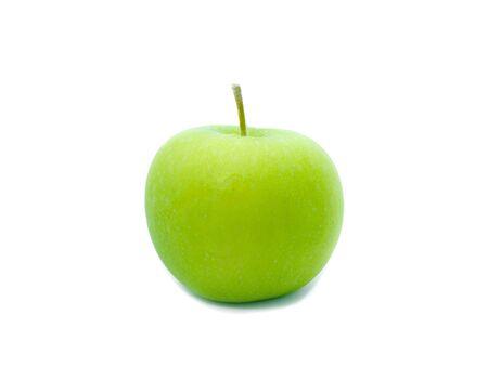 Green apple on white background fruit Nourish the health body